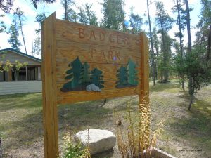 Sign at the entrance of the Badger Manitoba Community Park