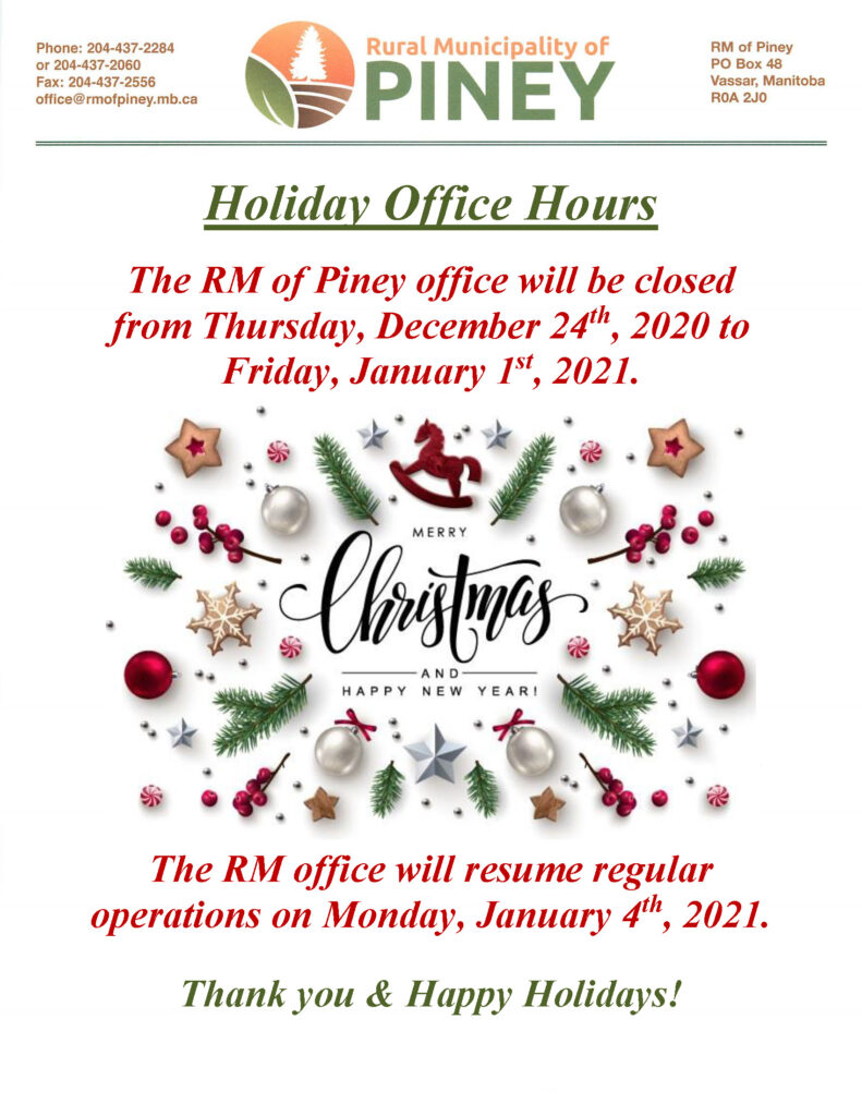 NOTICE Holiday Office Hours 2020