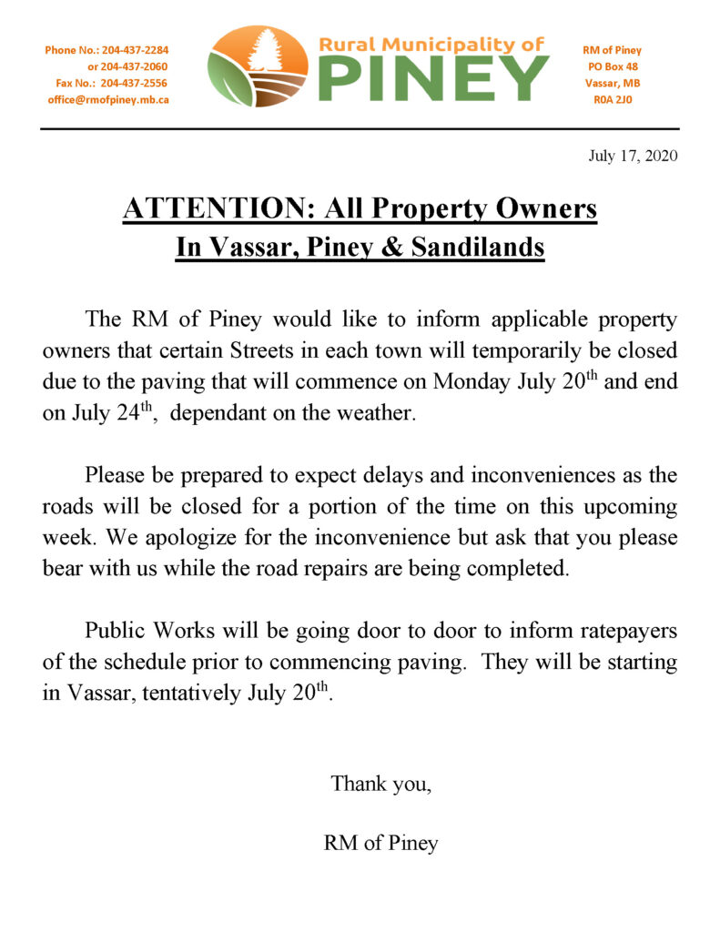 Notice July 2020 Paving of Roads in Vassar