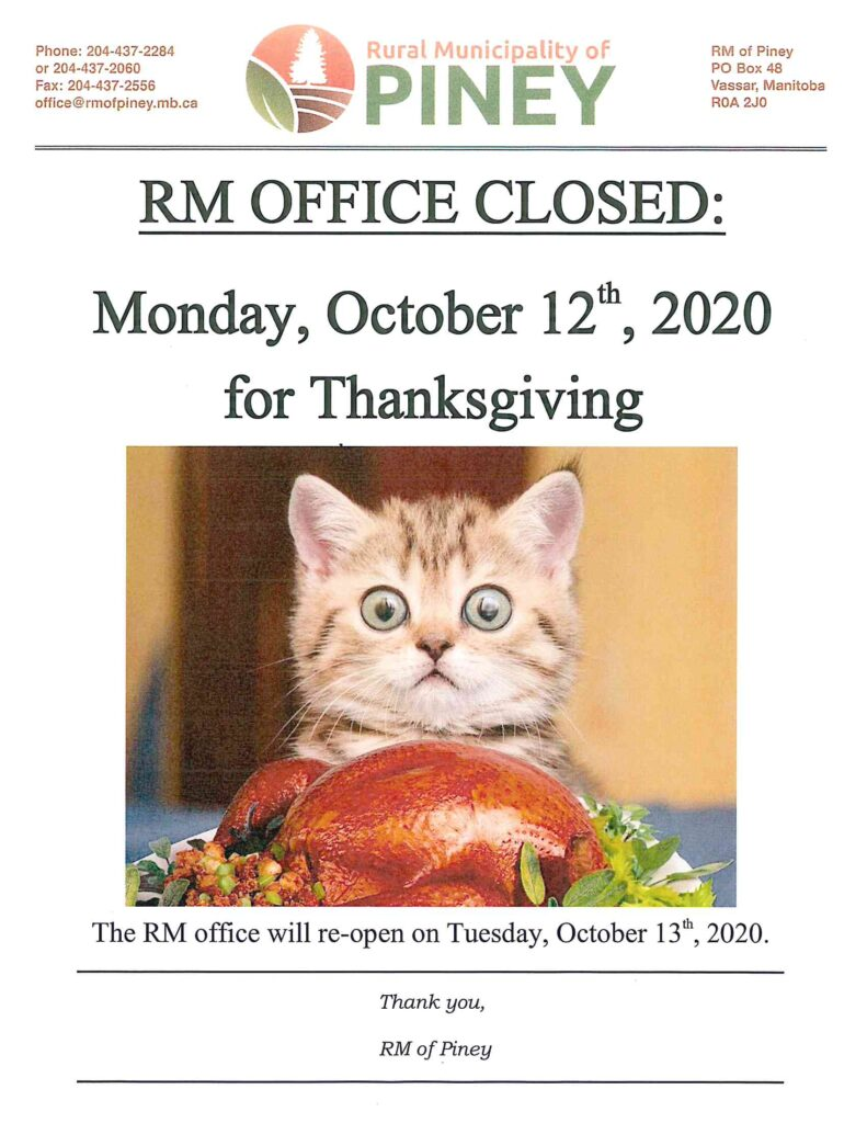 Notice Thanksgiving 2020 Office Closure