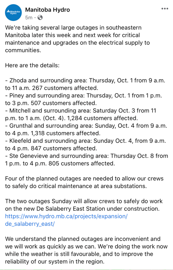 Notice Manitoba Hydro Local Outages October 1st