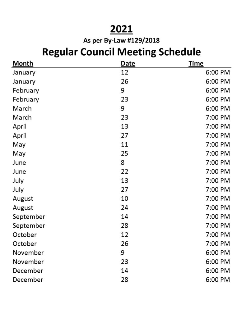 NOTICE 2021 MEETING SCHEDULE