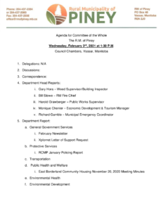 Agenda for Committee of the Whole 2021-02-03