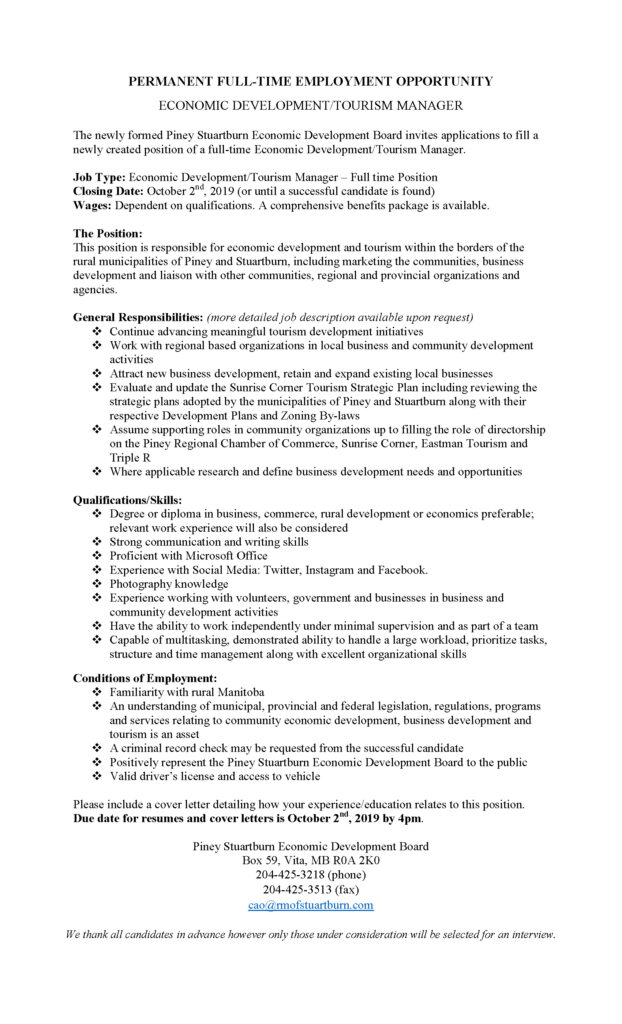 economic development manager job posting 2020