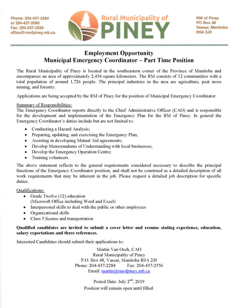 emergency coordinator job posting 2020