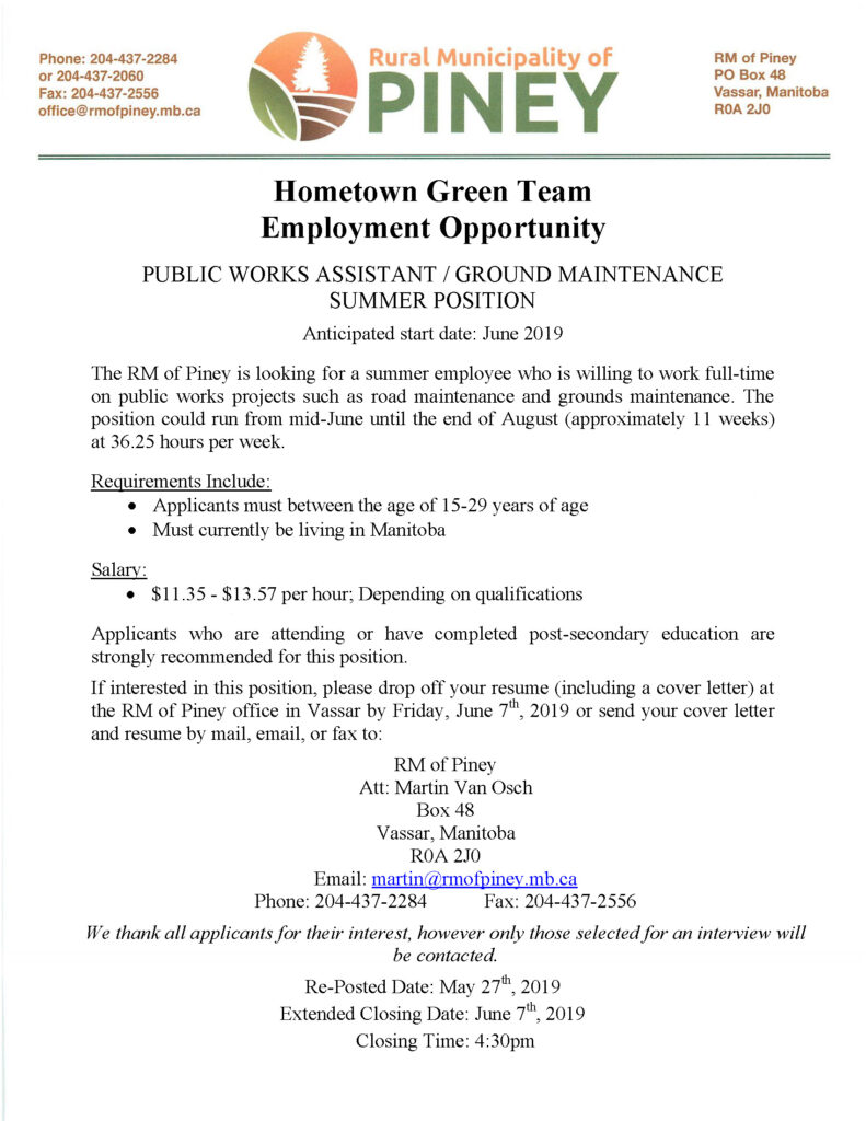 green team summer job posting 2019