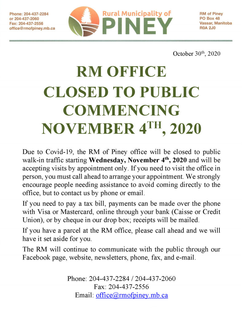 Notice Office Closed to Public