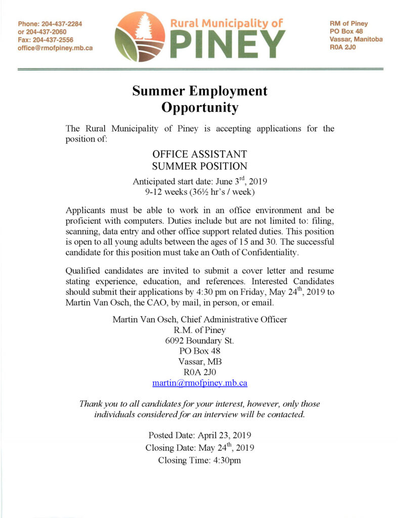 RM office summer assistant posting 2019