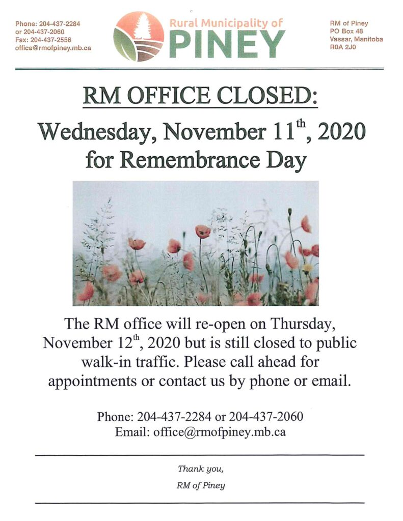 Notice RM Office Closure Remembrance Day 2020