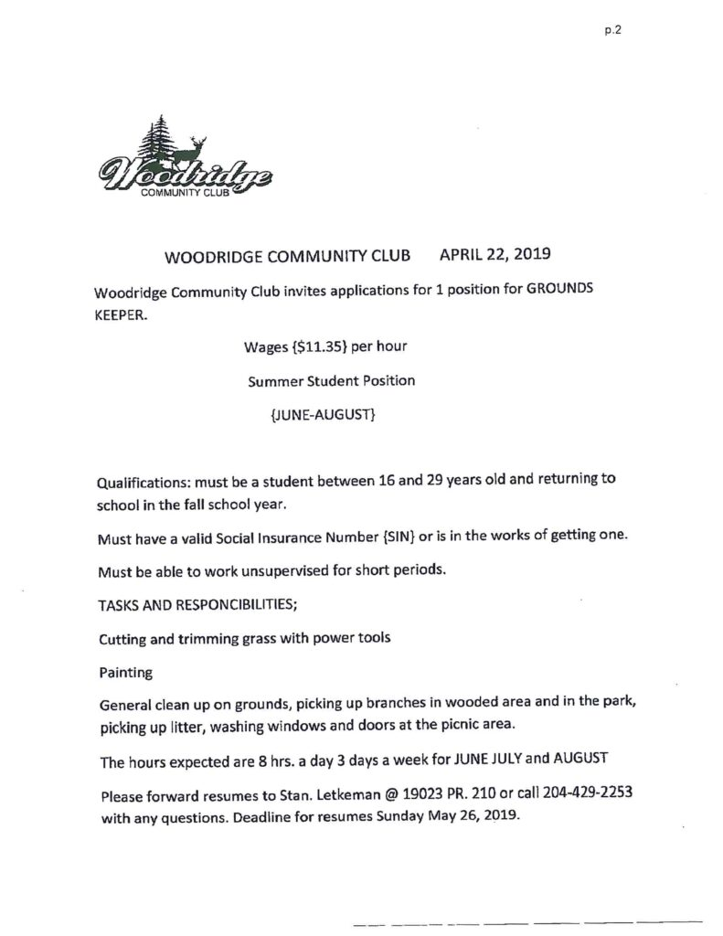Woodridge community club job posting 2019