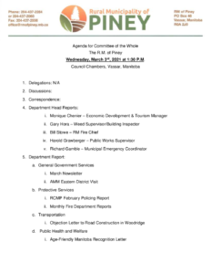 Agenda for Committee of the Whole 2021-03-03