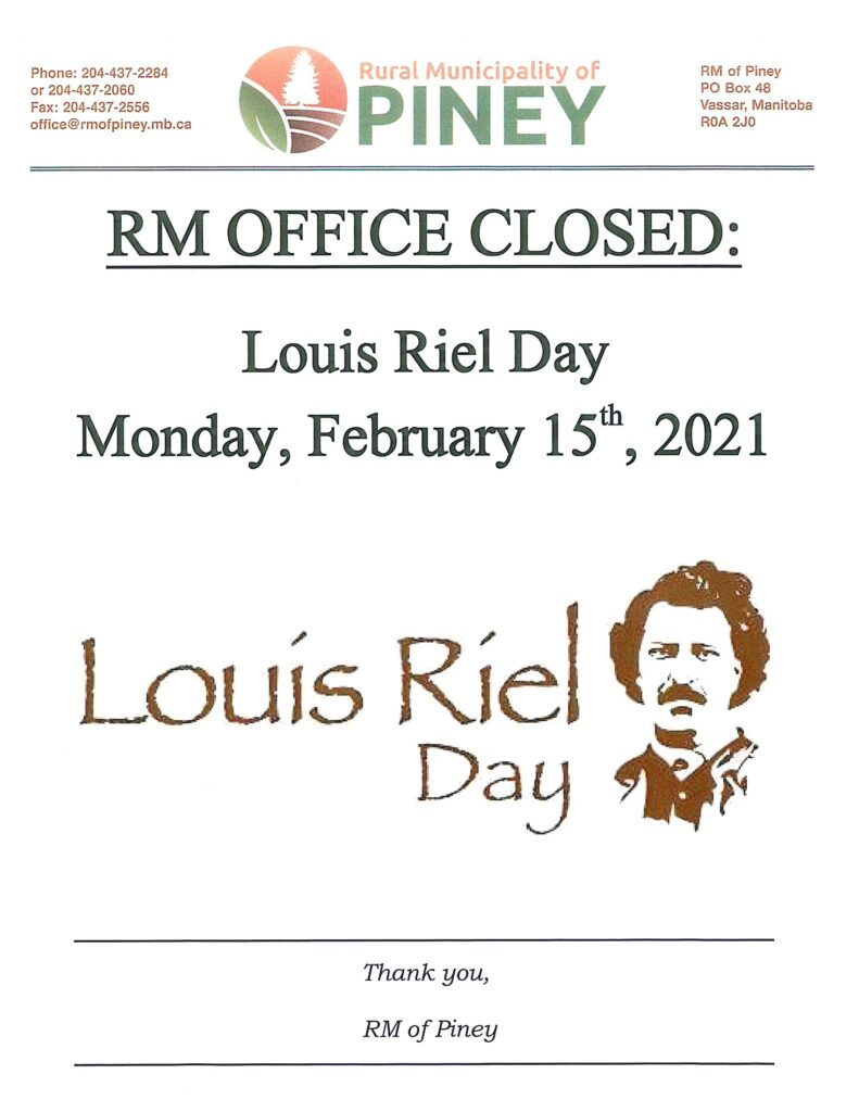 Office Closure for Louis Riel Day
