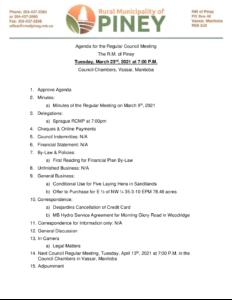 Agenda for Regular Meeting 2021-03-23