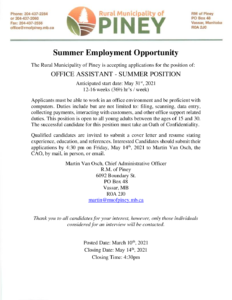 Job Posting for Summer Student Office Assistant