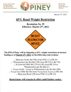 Road Weight Restriction 2021