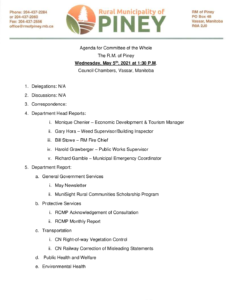 Agenda for Committee of the Whole 2021-05-05