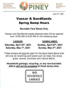 Spring Dump Hours 2021