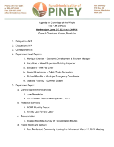 Agenda for Committee of the Whole 2021-06-02