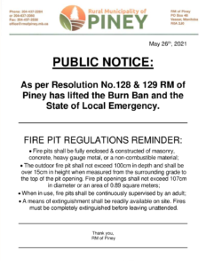 Burn Ban & State of Local Emergency Lifted