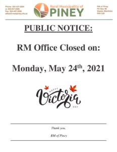RM Office Closed for Victoria Day