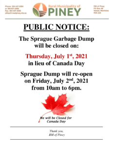 Sprague Garbage Dump Closed for Canada Day