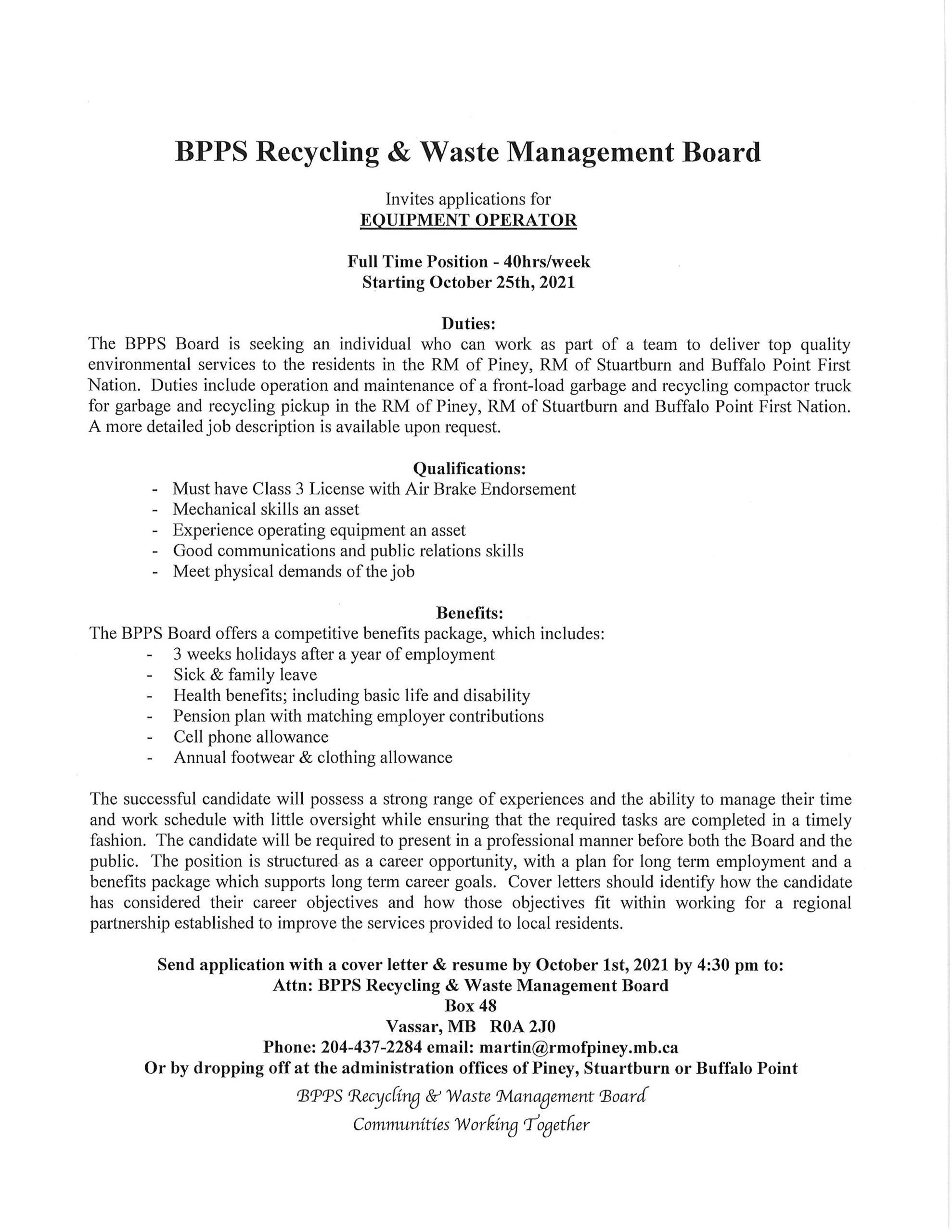 Job Posting for Equipment Operator Oct 1 2021
