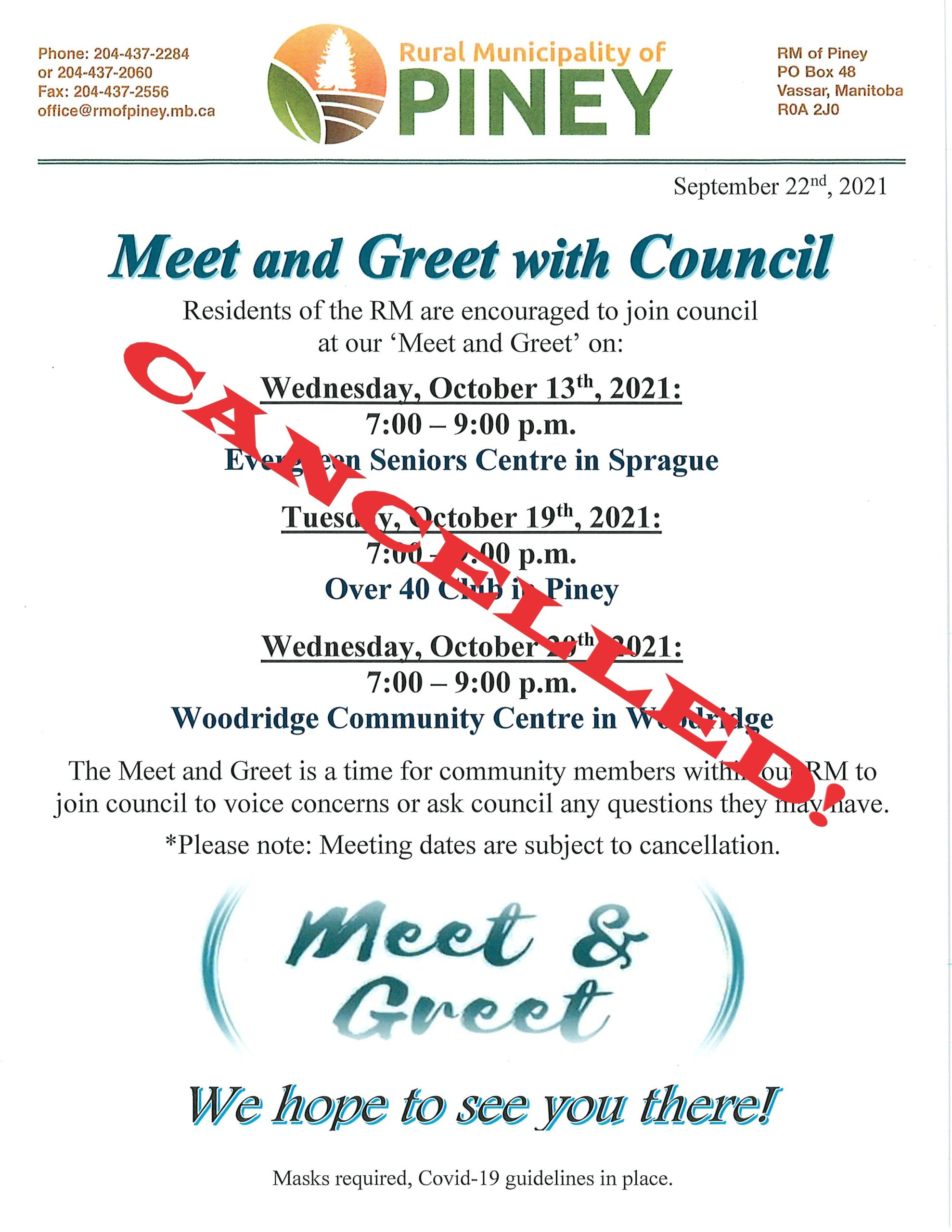 Meet and Greet October 2021 Cancelled